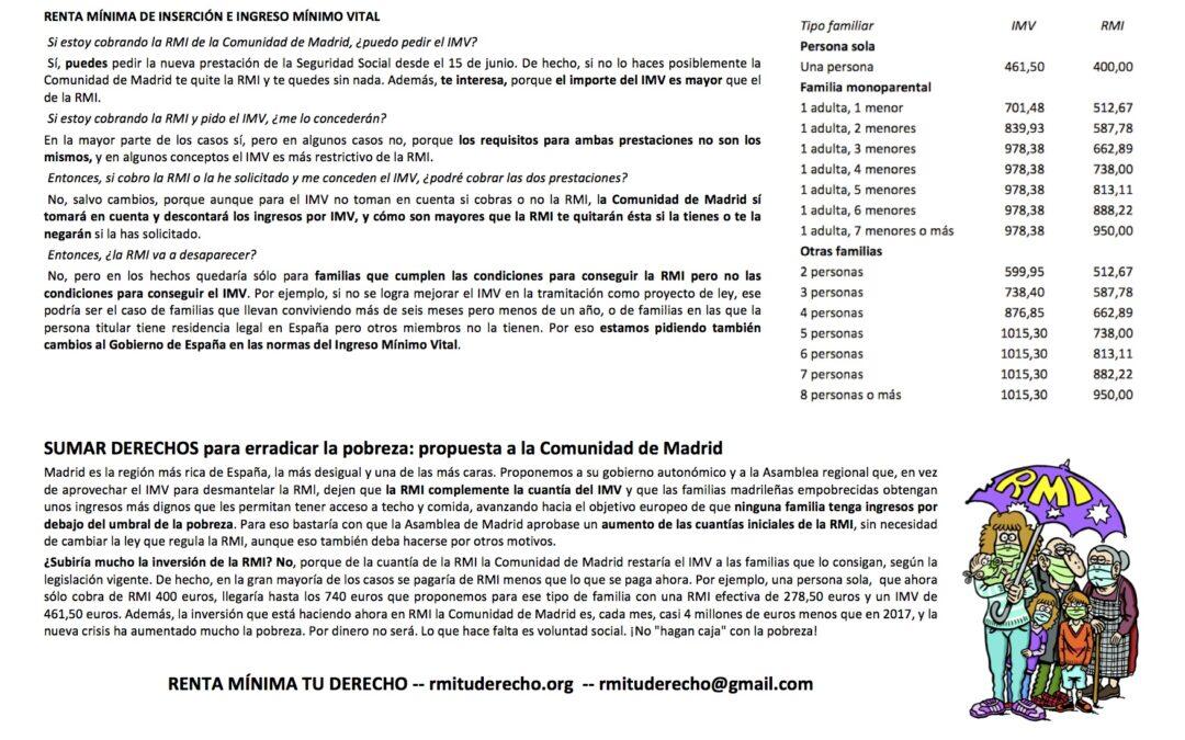 Información: ¿son compatibles en Madrid el Ingreso Mínimo y la Renta Mínima?