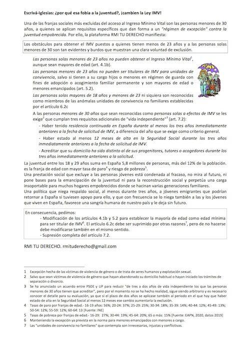 La normativa del IMV excluye y discrimina a las personas jóvenes