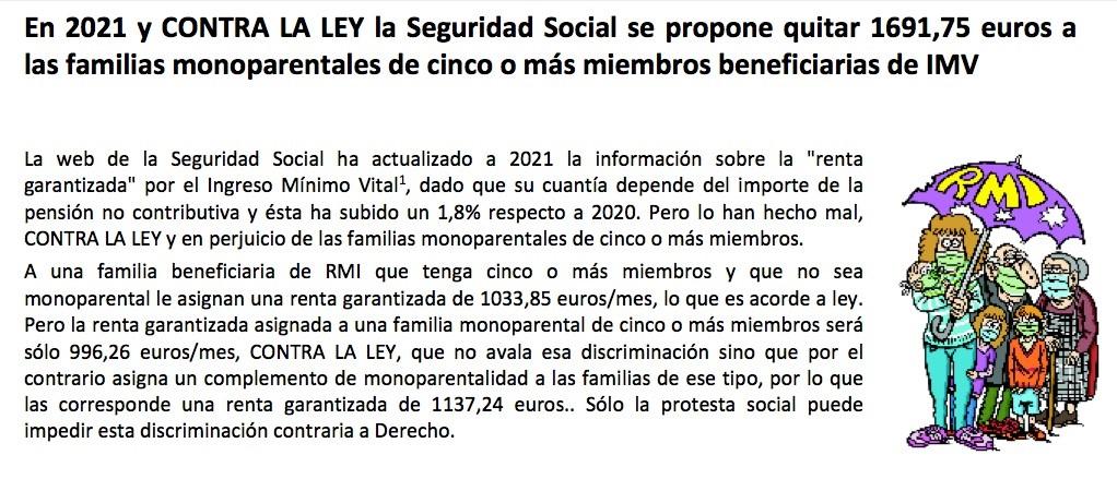 EL MINISTRO ESCRIVÁ INCUMPLE LA LEY del IMV: en 2021 quitan casi 1700 euros a las familias monoparentales de cinco o más miembros